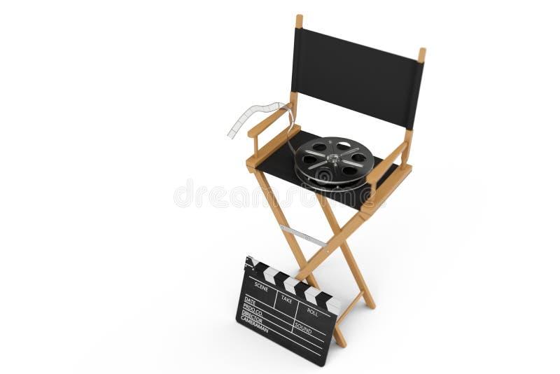 Directeur Chair, clapet de film et bobine de film Chaise de directeur d'isolement sur le fond blanc illustration 3D illustration de vecteur