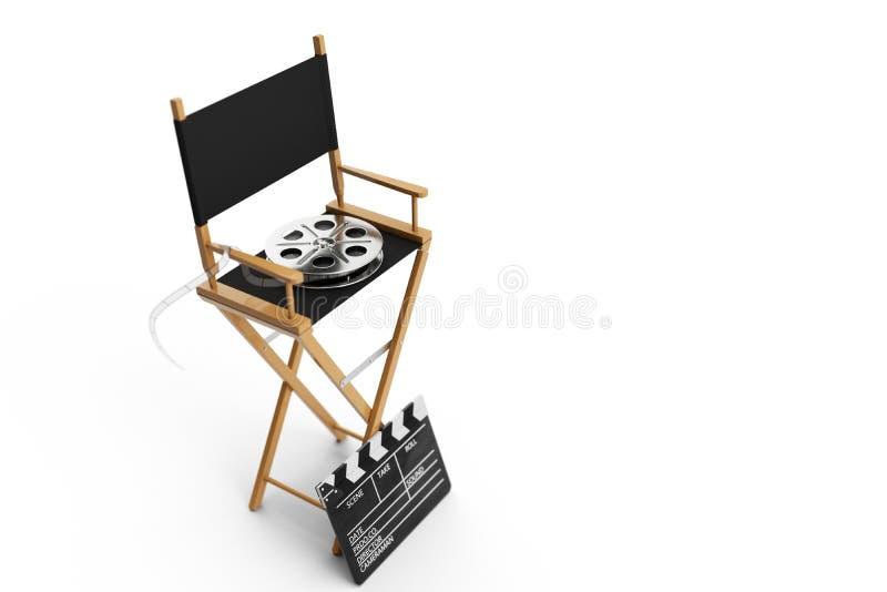 Directeur Chair, Filmklep en filmspoel Directeursstoel op witte achtergrond wordt geïsoleerd die 3D Illustratie stock illustratie