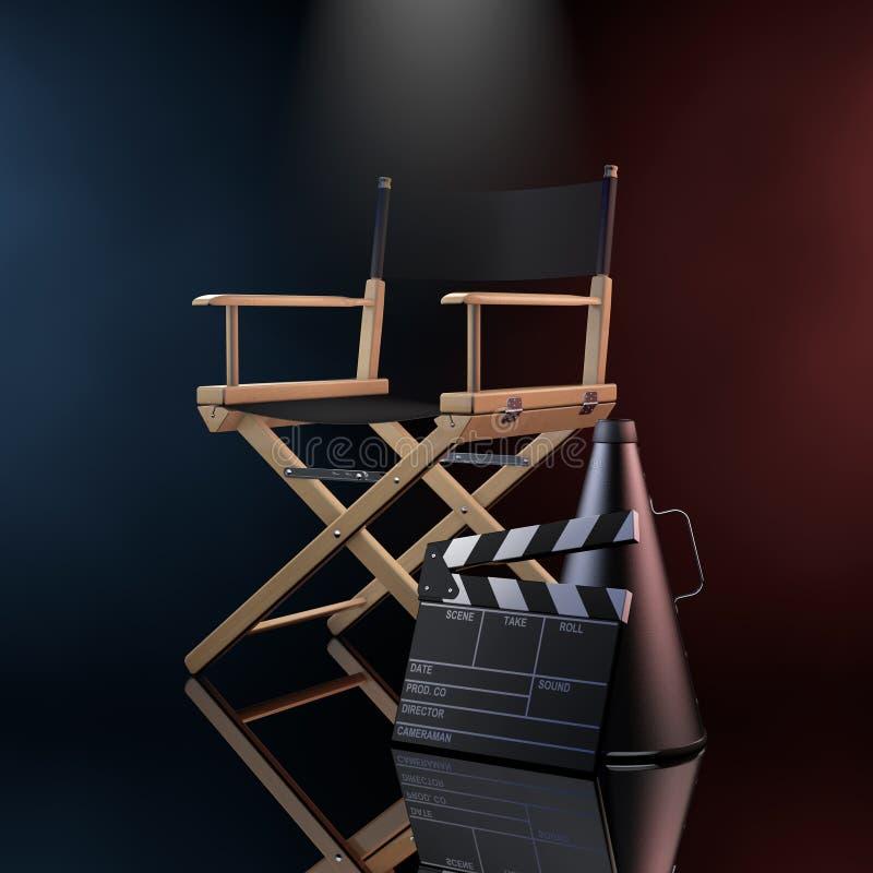 Directeur Chair, Filmklep en Megafoon in de Kleur Volumet stock illustratie