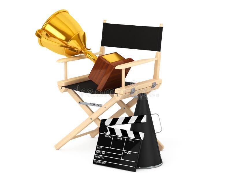 Directeur Chair, Filmklep en Megafoon met Gouden Trofee royalty-vrije illustratie