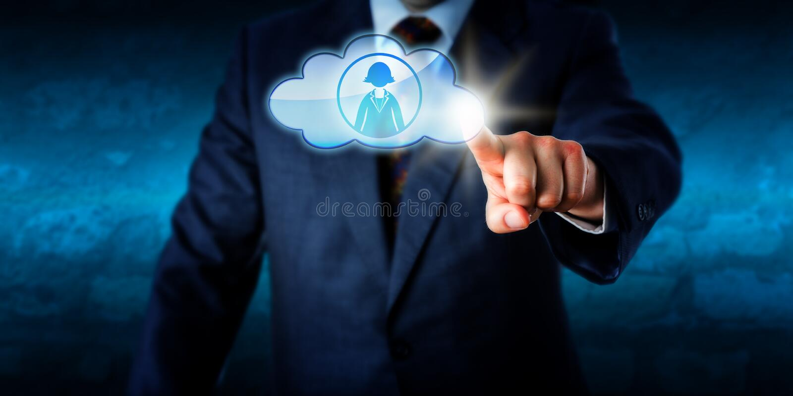 Directeur Connecting With Female Peer Via The Cloud image libre de droits