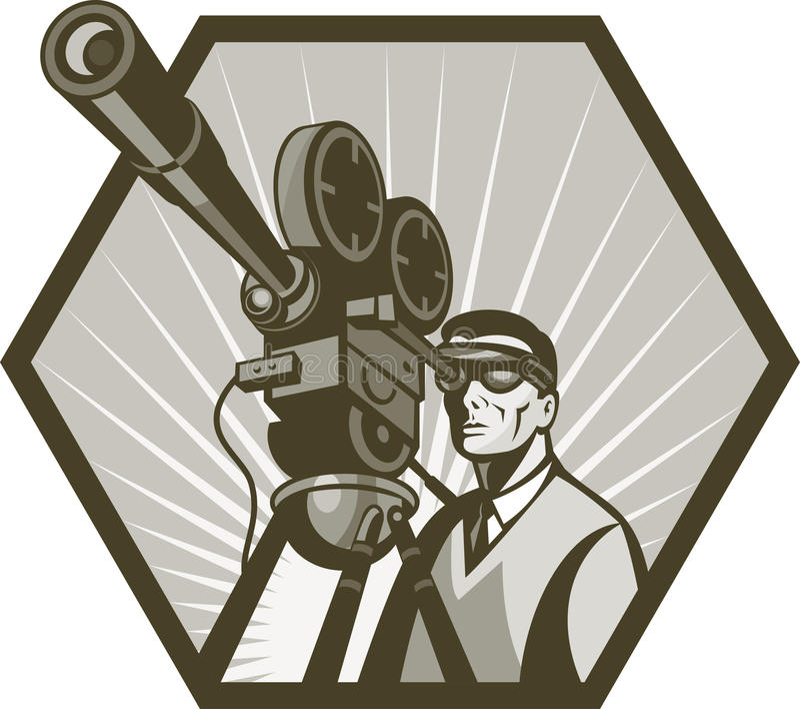 Directeur d'appareil-photo de film du film TV illustration de vecteur