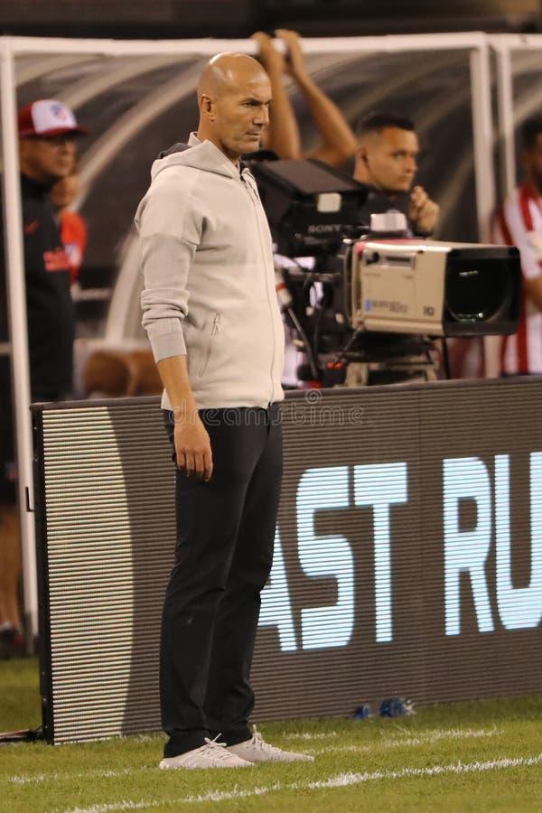 Directeur de Zinedine Zidane de Real Madrid pendant la coupe internationale de 2019 champions contre Atletico De Madrid au stade  photos libres de droits