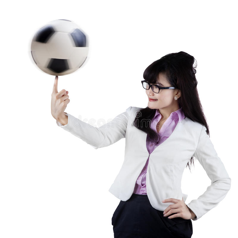 Directeur féminin du football photo stock