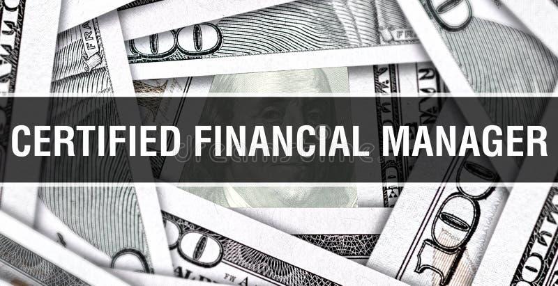 Directeur financier certifié Closeup Concept Dollars américains d'argent d'argent liquide, rendu 3D Directeur financier certifié  images stock