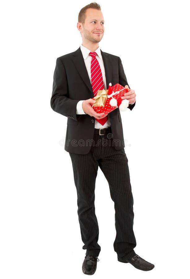 Directeur prêt pour Noël - homme d'isolement sur le fond blanc image stock