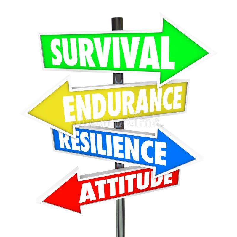 Directi de las flechas de las señales de tráfico de la actitud de la resistencia de la resistencia de la supervivencia stock de ilustración