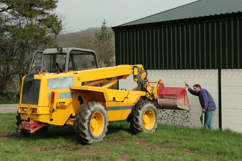 Directing The Telescopic Loader Stock Photo
