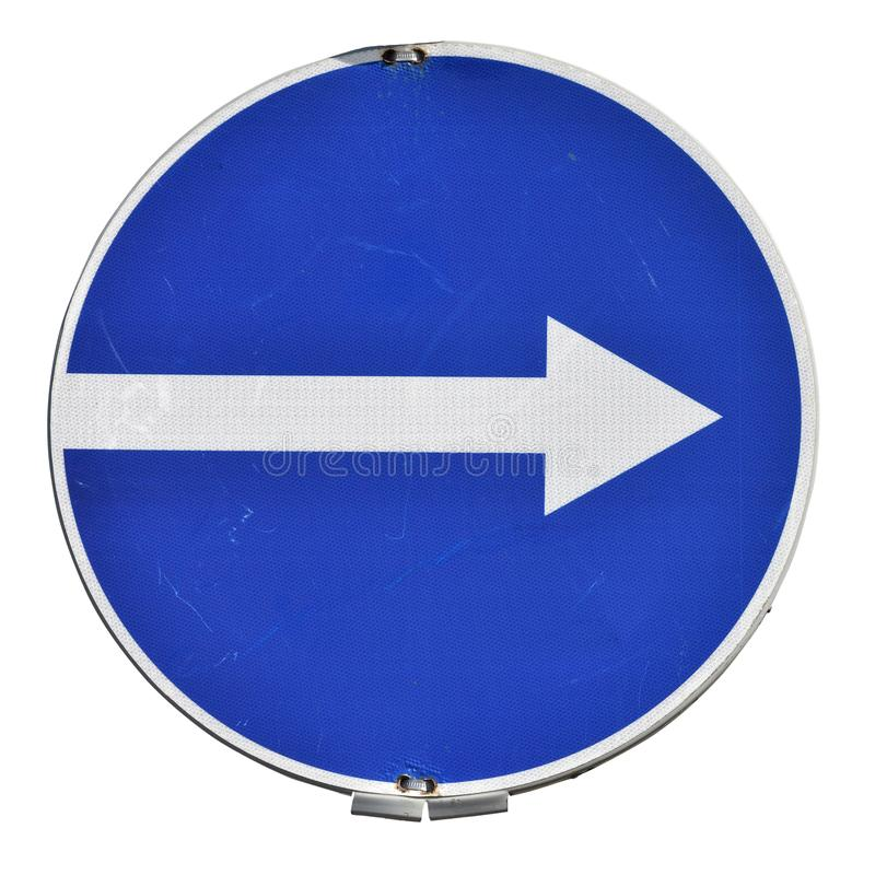 Direction arrow, old road sign isolated royalty free stock photos