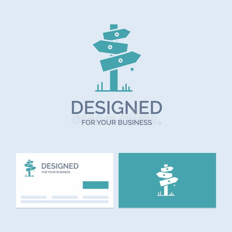 Direction, Board, Camping, Sign, label Business Logo Glyph Icon Symbol for your business. Turquoise Business Cards with Brand logo. Template.. Vector EPS10 vector illustration