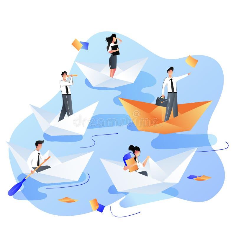 Direction, carrière, concept d'affaires de succès Navigation de personnes d'hommes d'affaires en les bateaux de papier Illustrati illustration libre de droits