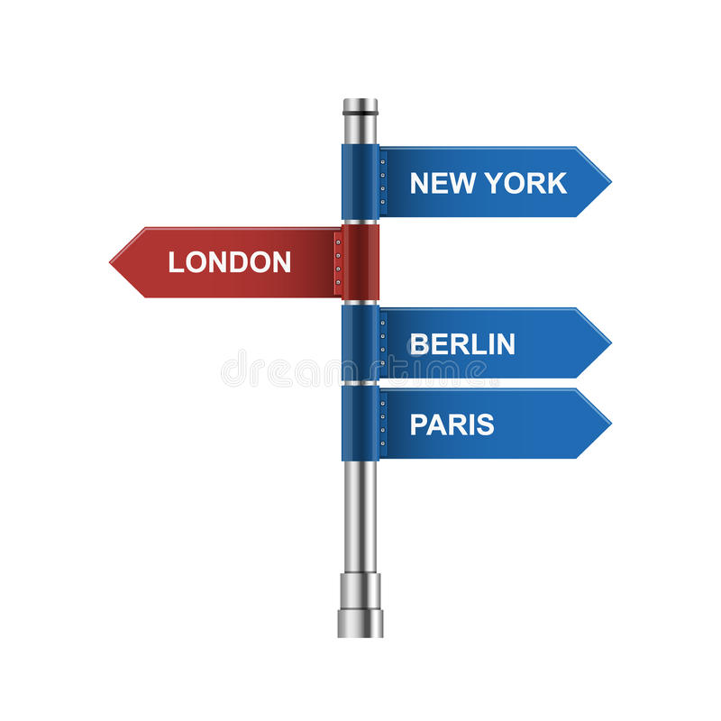 Direction city road signs - arrows isolated on white Vector illustration. stock illustration