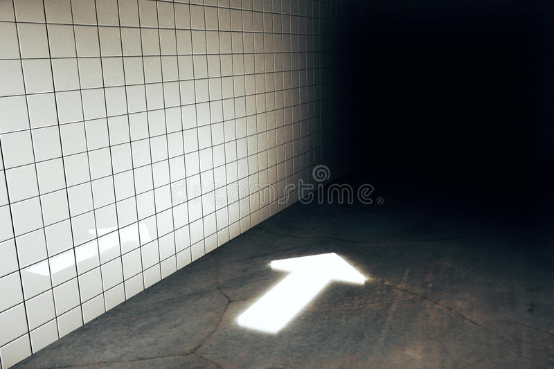 Direction concept. Abstract illuminated arrow in grungy tile wall and concrete floor interior. Direction concept. 3D Rendering royalty free illustration