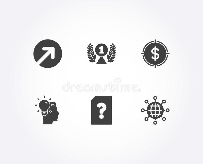 Direction, Idea and Unknown file icons. Laureate award, Dollar target and International globe signs. stock illustration