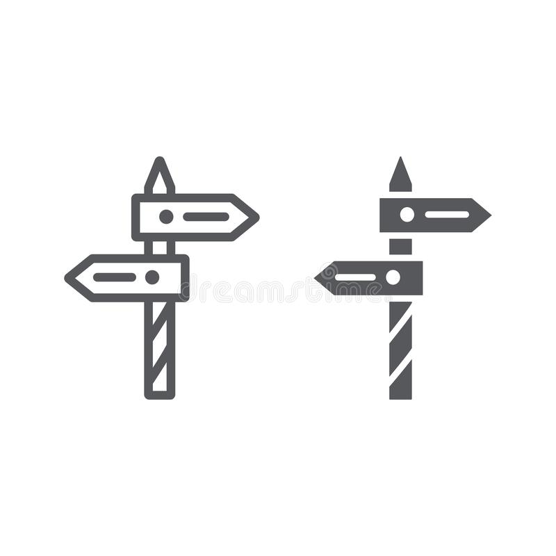 Direction line and glyph icon, way and guidepost, signpost sign, vector graphics, a linear pattern on a white background. Eps 10 royalty free illustration