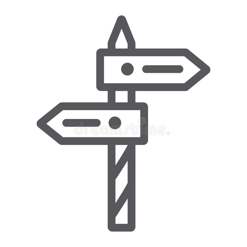Direction line icon, way and guidepost, signpost sign, vector graphics, a linear pattern on a white background. Direction line icon, way and guidepost, signpost vector illustration