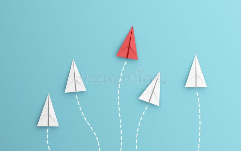 Direction ou concept différent avec la ligne de chemin et d'itinéraire d'avion de livre blanc rouge et sur le fond bleu Métier de illustration stock