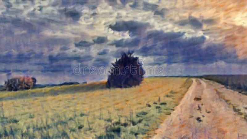 Direction painting. Direction road on field with cloudy sky vector illustration