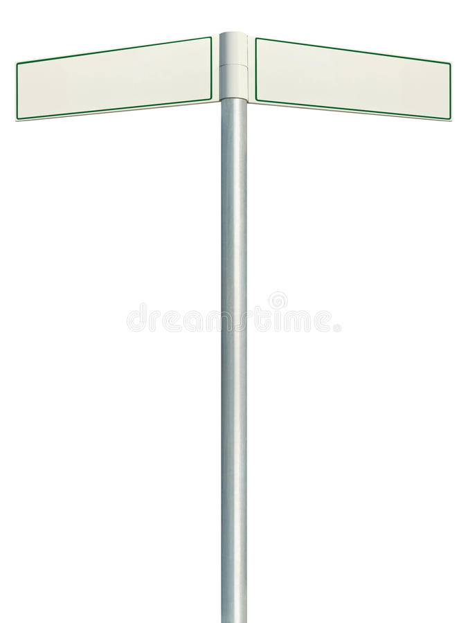 Direction road signs, two empty blank signpost signages, isolated directional roadside guidepost pointer white copy space, green royalty free stock photos