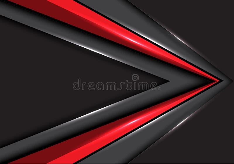 Direction rouge abstraite de vitesse de flèche sur le vecteur futuriste moderne de fond de conception grise d'espace vide illustration de vecteur