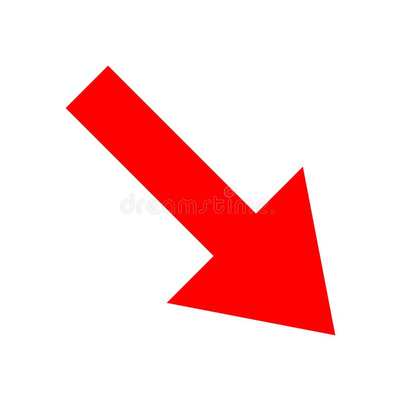 Direction rouge de flèche d'icône sur un fond blanc photos libres de droits