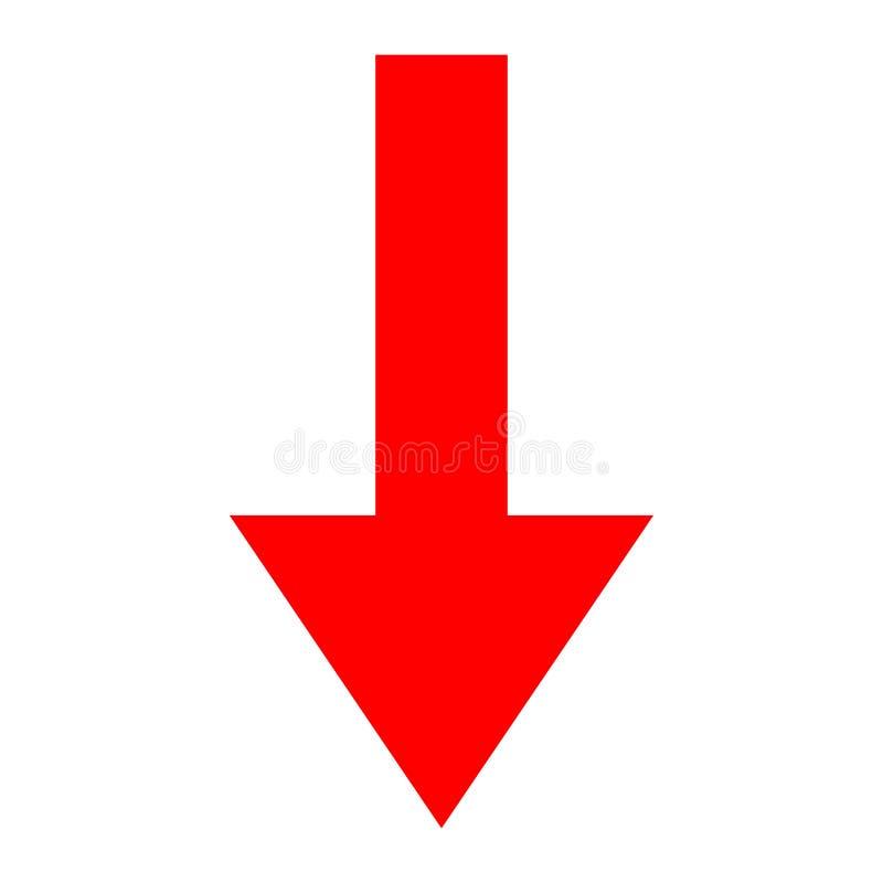 Direction rouge de flèche d'icône sur un fond blanc photographie stock