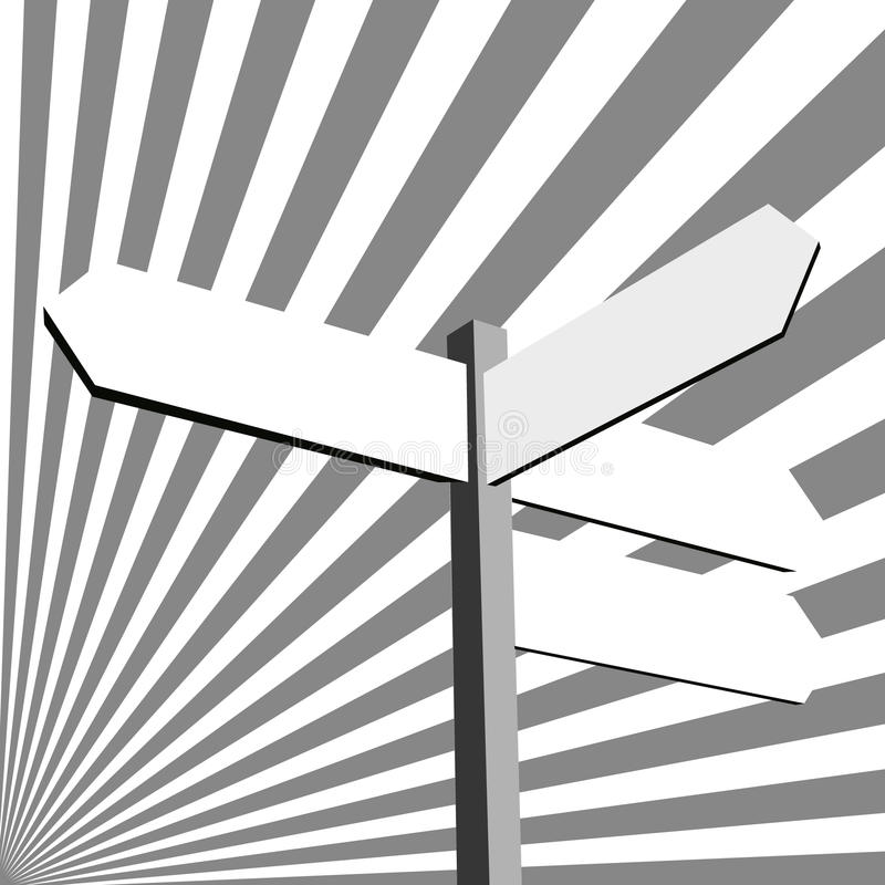 Direction sign. Black and white direction sign - abstract illustration vector illustration
