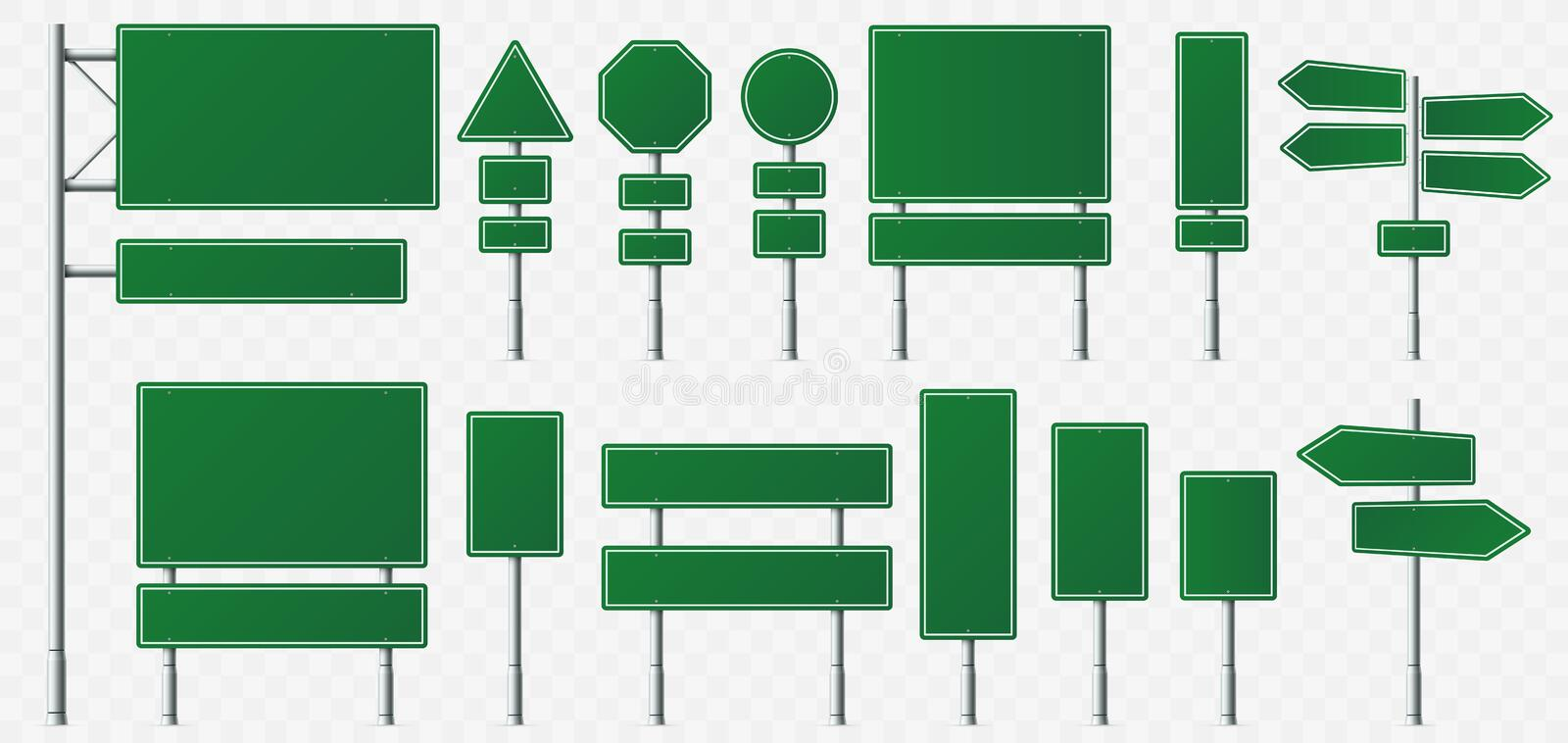 Direction sign board. Road destination signs, street signage boards and green directing signboard pointer isolated. Direction sign board. Road destination signs vector illustration