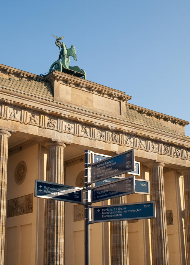 Direction Sign by Brandenburg Gate royalty free stock photos