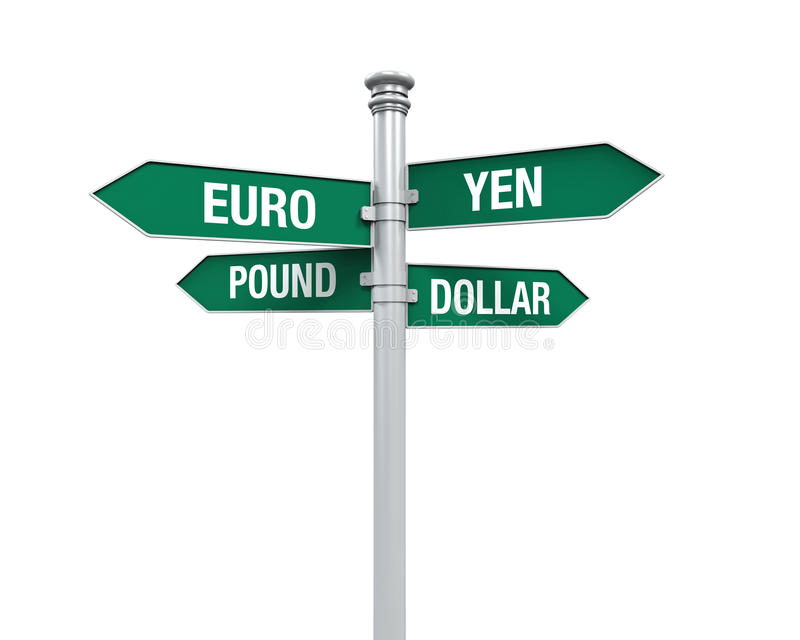 Direction Sign of Currency stock illustration