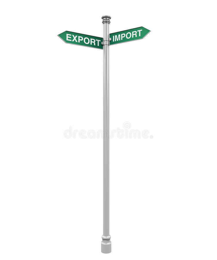 Direction Sign of Export and Import royalty free illustration