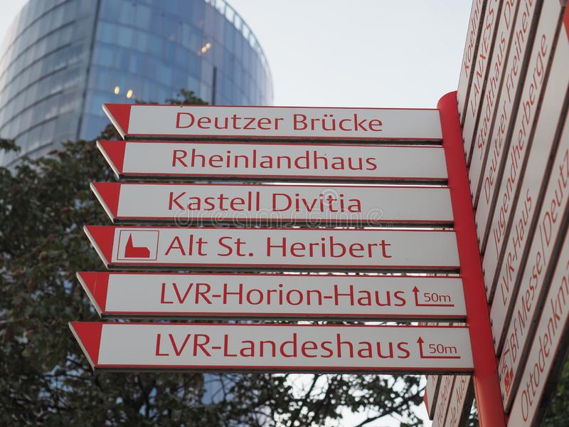 direction sign in Koeln stock photography