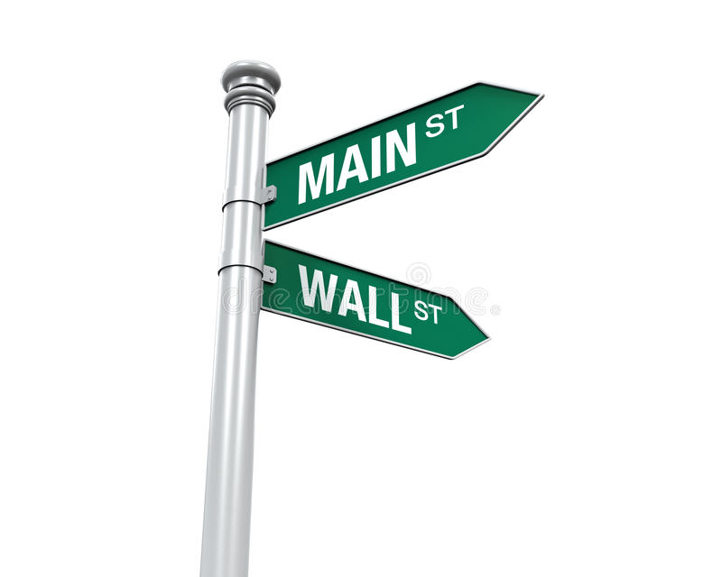 Direction Sign of Main Street and Wall Street. Isolated on white background. 3D render vector illustration