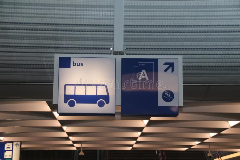 Direction sign to bus platform A on Zwolle station stock photography