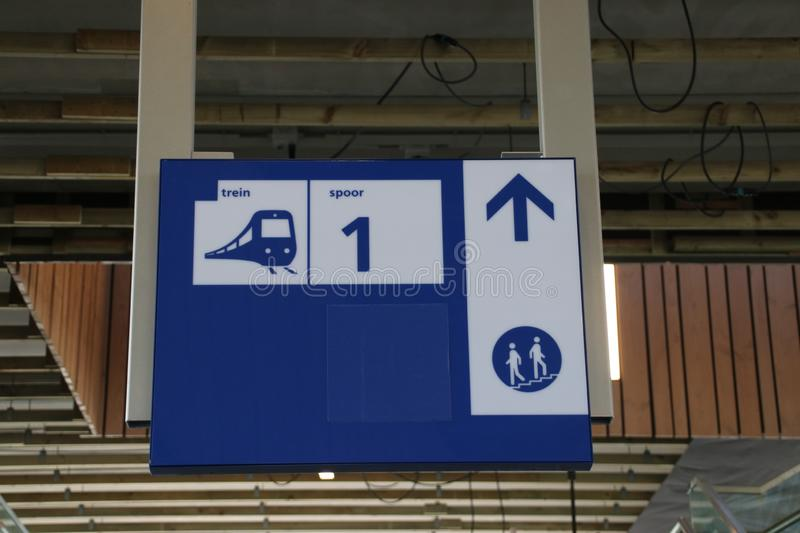 Direction sign to platform 1 on the brand new train station Zoetermeer-Lansingerland royalty free stock photos