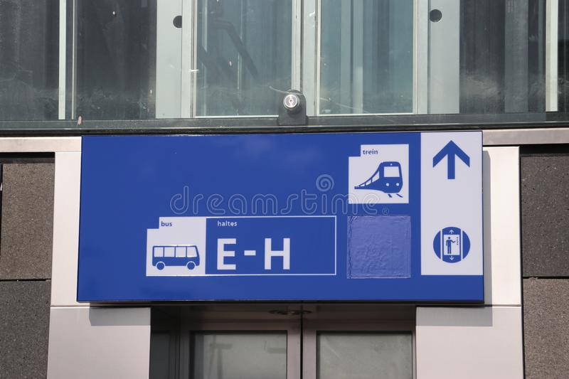 Direction sign to platform and busses by elevator on platform on the brand new train station Zoetermeer-Lansingerland in the Nethe stock photos