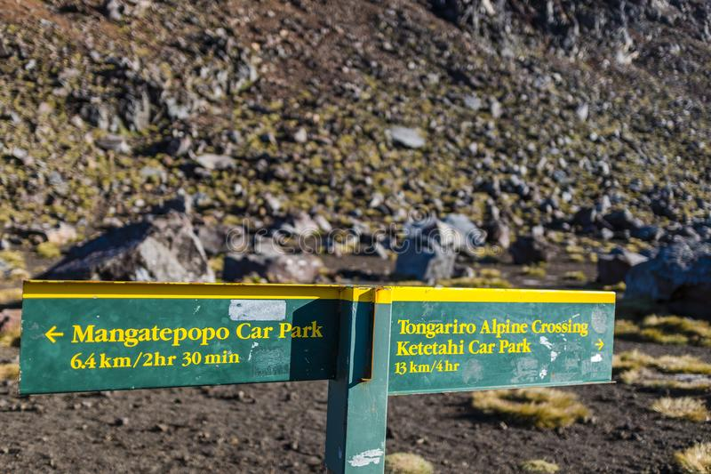 Direction sign at the Tongariro Alpine Crossing royalty free stock photography