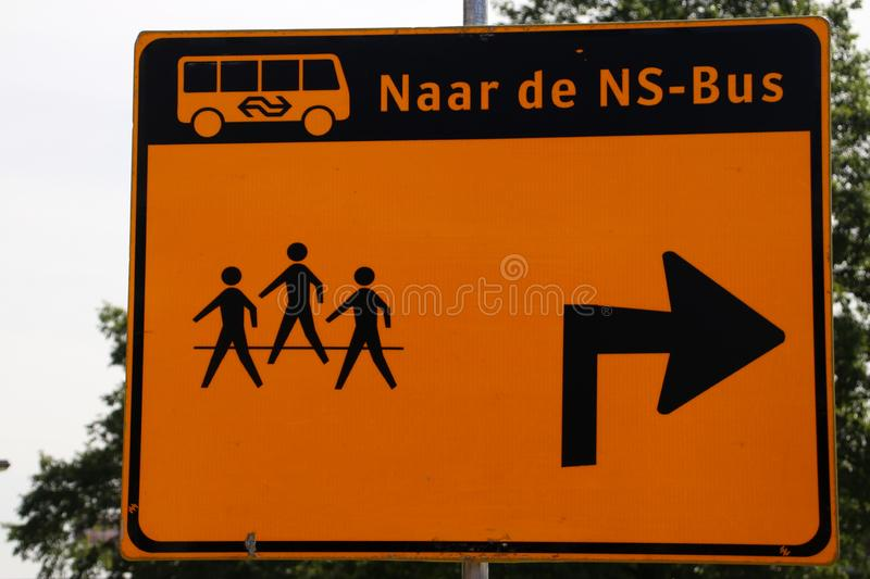 Direction sign for travelers that busses are running instead of trains at station nIeuwerkerk aan den IJssel. stock photo