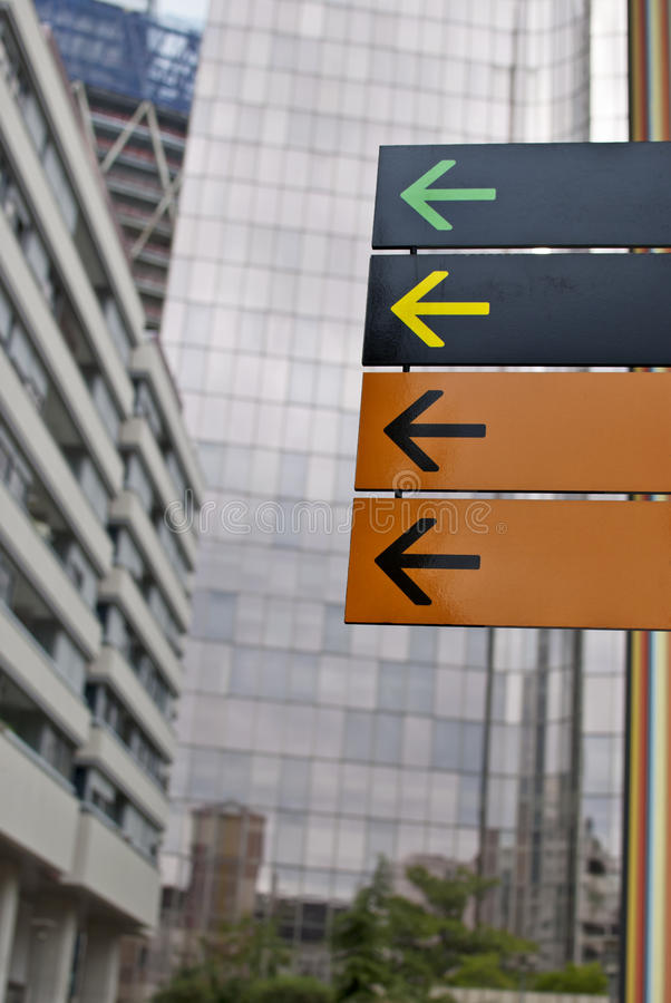 Direction signs. Blank city direction signs with different colors and arrows royalty free stock photo