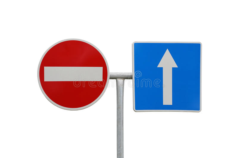 Direction signs. Do not enter and arrow traffic signs stock images