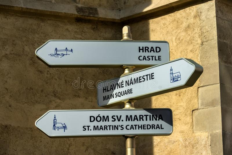Direction signs in Bratislava stock photos