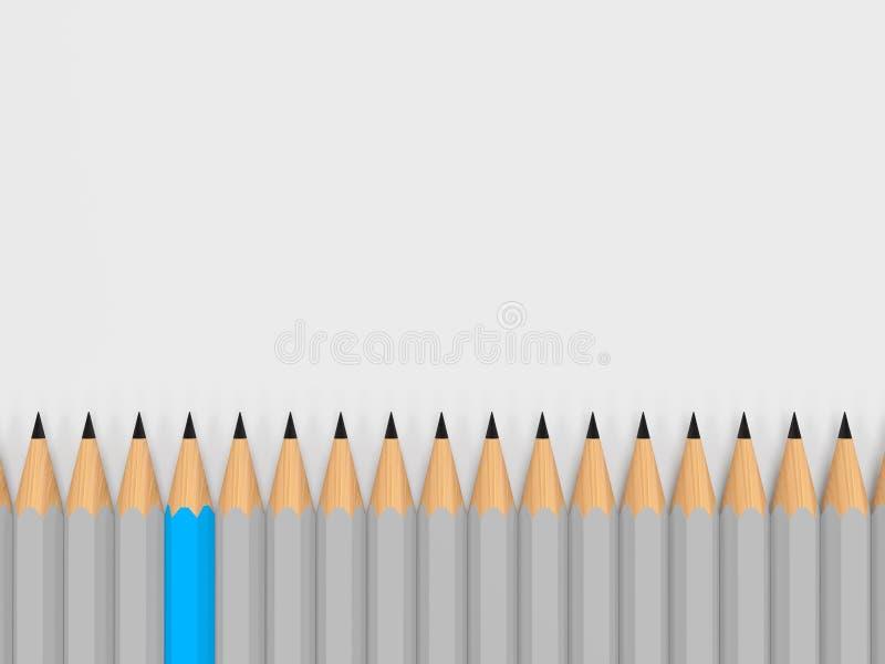 Direction simple d'exposition de crayon de couleur dans la foule illustration libre de droits