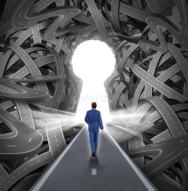 Direction Solutions. As a business leadership concept with a businessman walking to a glowing key hole shape opening as a straight path to success choosing the royalty free illustration