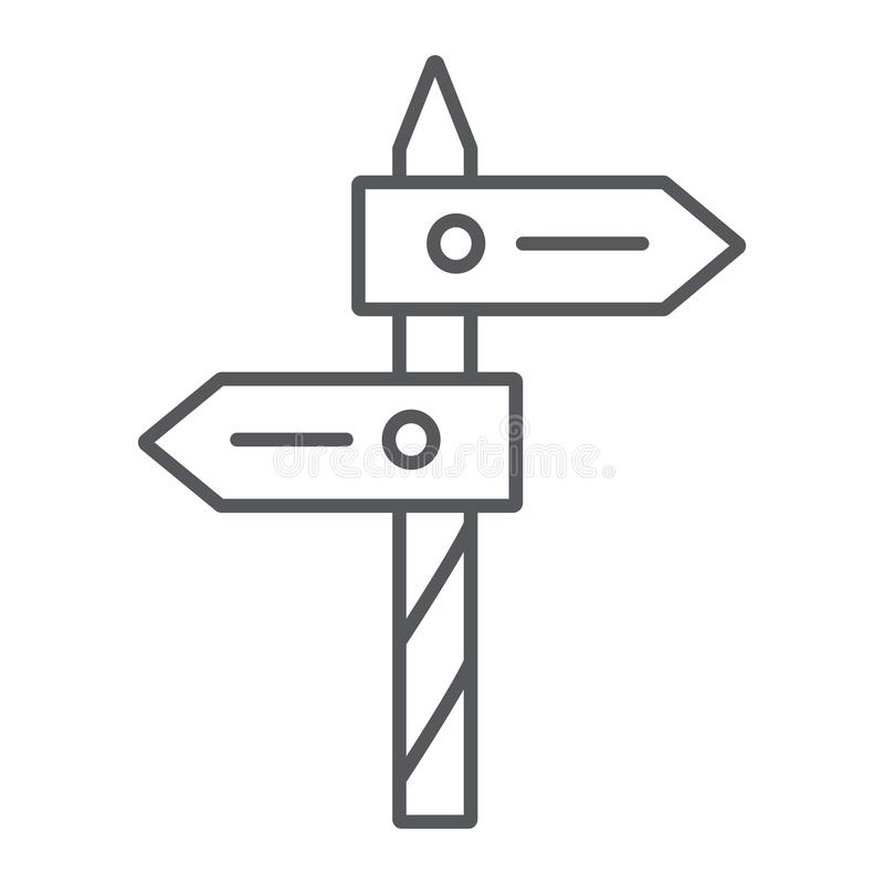 Direction thin line icon, way and guidepost, signpost sign, vector graphics, a linear pattern on a white background. Direction thin line icon, way and guidepost vector illustration