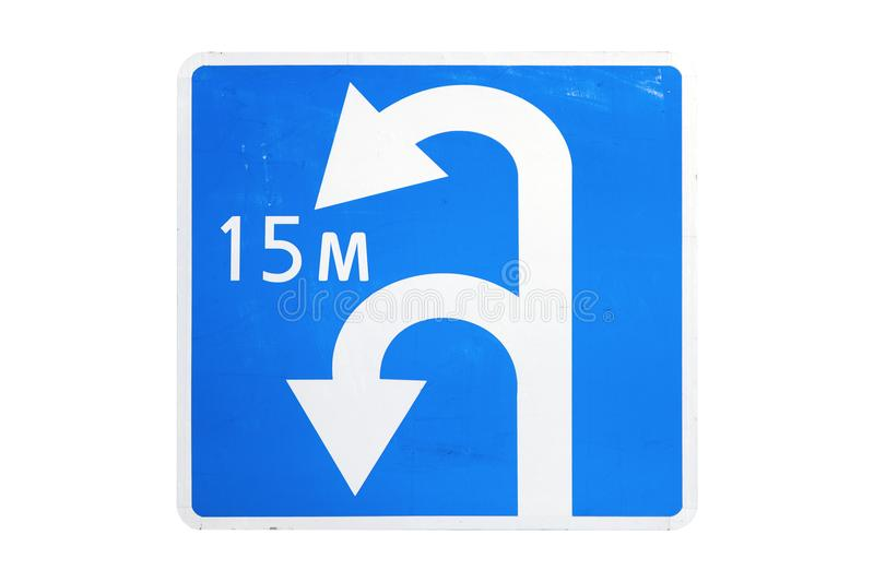 `Direction to be followed` road sign isolated on white. `Direction to be followed` square blue road sign isolated on white royalty free stock photos