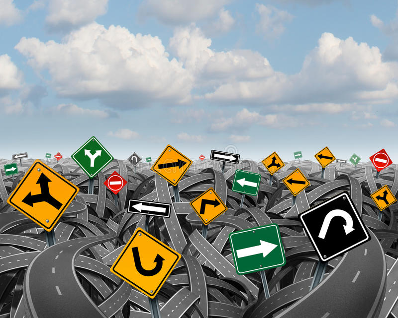 Direction Uncertainty. With a landscape of confused tangled roads and highways and a group of traffic signs competing for influence as a symbol of the royalty free illustration