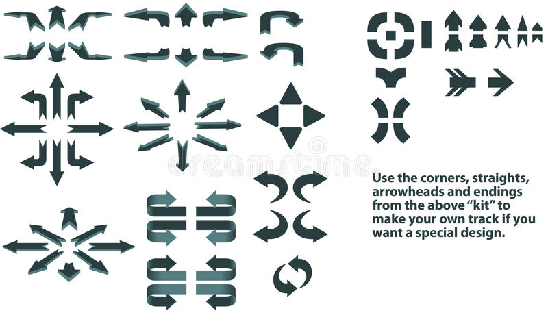 Directional arrows. Set of arrows in 2D and 3D form showing directions, plus a set of sections that if assembled, they can form tracks of arrows. Combine for stock illustration