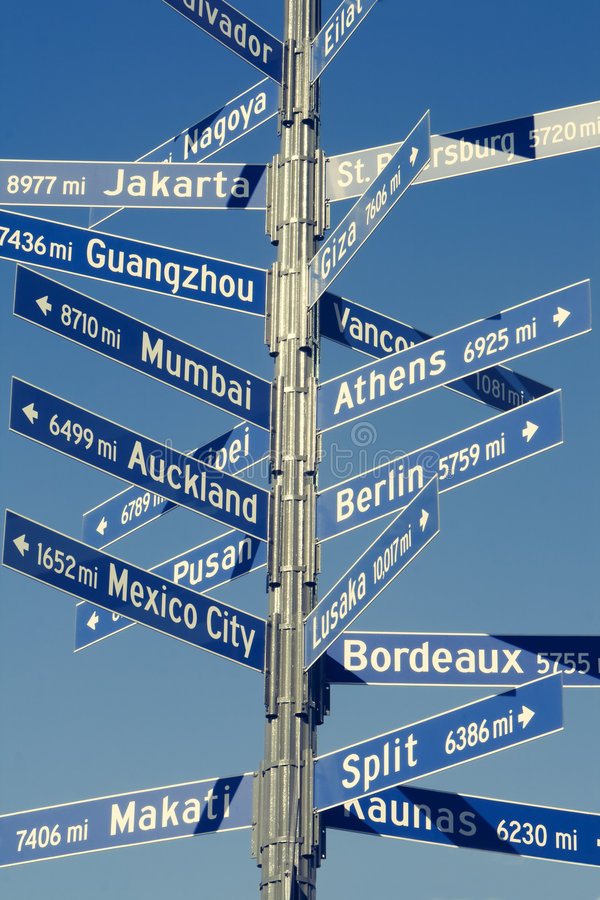 Directional Mileage Sign For World Cities Royalty Free Stock Image