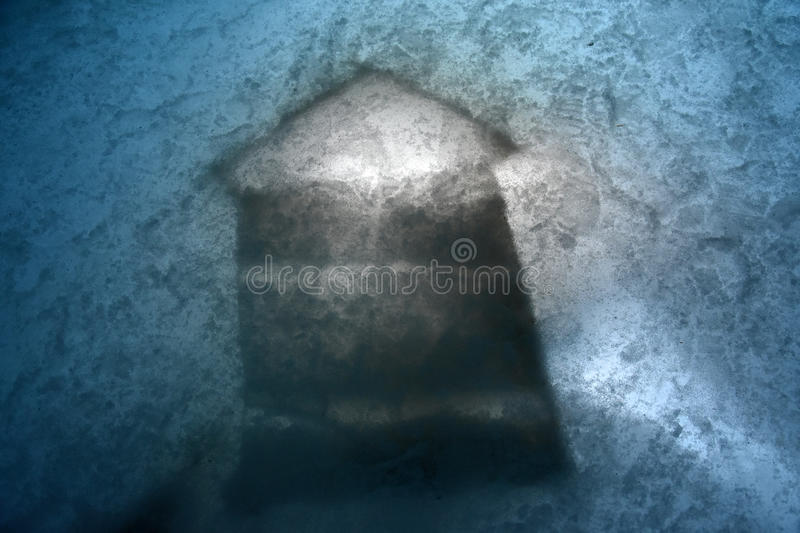 Directional sign in glacier ice cave stock photography