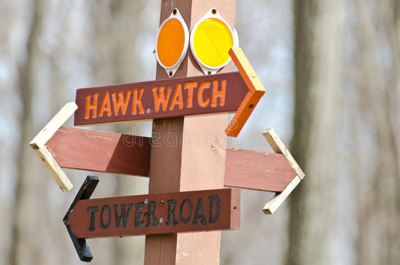 Download Directional Sign Pointing Way To The Hawk Watch Stock Image - Image: 24511083